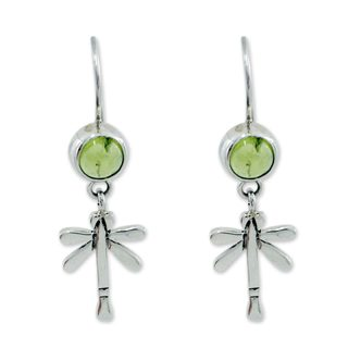Sterling Silver 'Mexican Dragonfly' Peridot Earrings (Mexico)