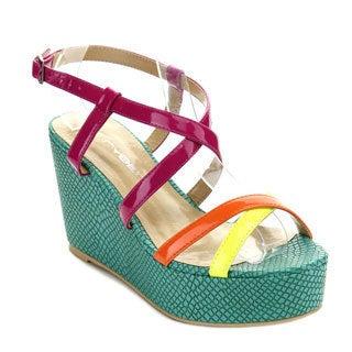 C-Label Women's BOTTEGA-8 Crossing Ankle Strap Platform Wedges