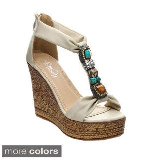 Refresh GRITA-05 Women's Beaded Platform T-strap Wedges