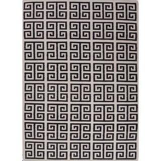 Indo Flat Weave White/ Black Geometric Wool Area Rug (5' x 8')