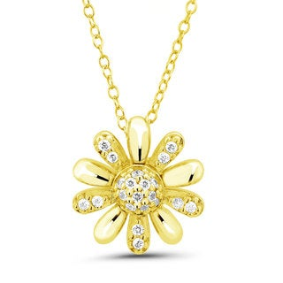 Gold over Silver Cubic Zirconia Flower 18-inch Necklace