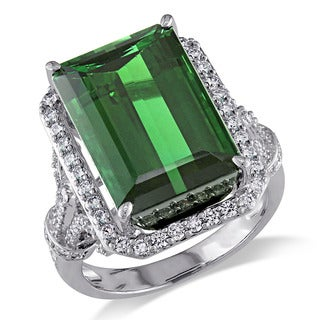 Miadora 14k White Gold Green Tourmaline and 3/4ct TDW Diamond Ring (G-H, SI1-SI2)