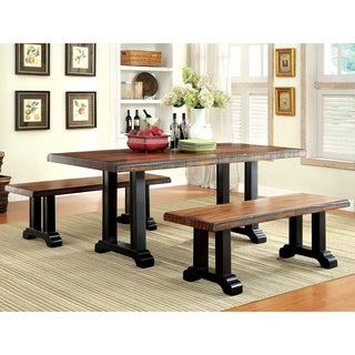 Furniture of America Dickens Rustic 3-Piece Kitchen Dining Set