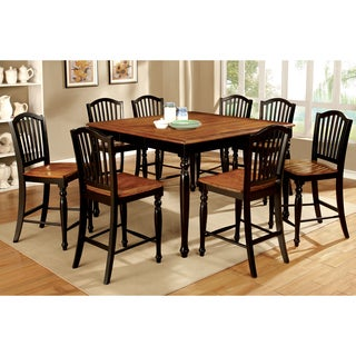 Furniture of America Levole Two-tone 9-piece Country Style Counter Height Dining Set