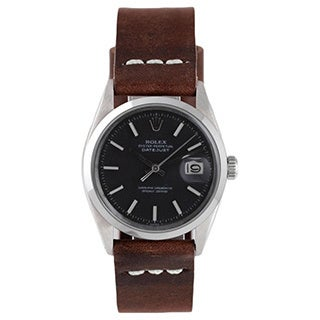 Pre-Owned Rolex Men's Black Dial Brown Strap Datejust Watch