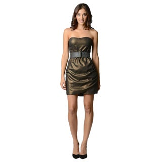 Sara Boo Strapless Woven Belted Dress