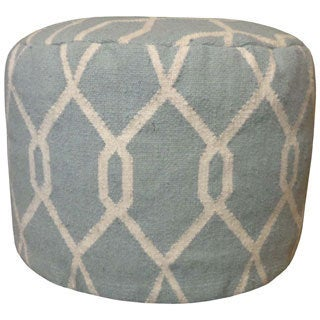Trendsage Kilim Grey Wool Pouf