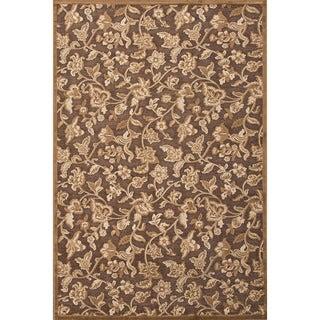 Floral Pattern Brown Area Rug (9' x 12')
