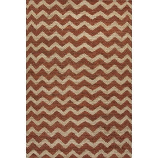 Naturals Geometric Pattern Ivory/ Red Area Rug (8' x 10')