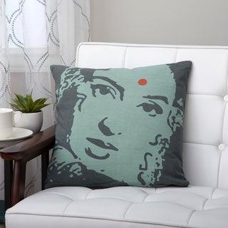 Sage Green Ikat Hindu Portrait Throw Pillow (India)