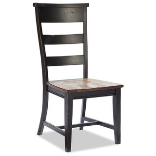 Winchester Black/ Honey Nut Solid Knotty Rubberwood Side Chair (set of 2)