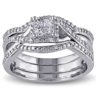 Miadora Sterling Silver 1/3ct TDW Princess-cut Diamond Bridal Ring Set (G-H, I2-I3)