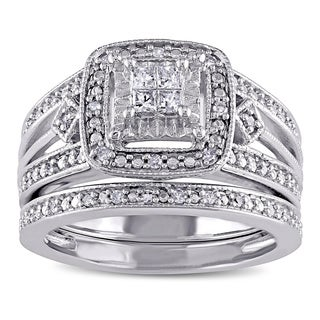 Miadora Sterling Silver 1/4ct TDW Princess-cut Diamond Bridal Ring Set (G-H, I2-I3)