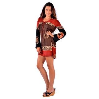 1 World Sarongs Brown/ Burgundy Abstract Tiki Tunic Cover-up Tunic (Indonesia)