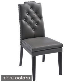 Albany Tufted Faux Leather Dining Chair (Set of 2)