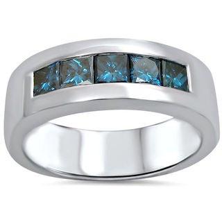 14k White Gold Men's 1 1/10ct TDW Blue Princess-cut Certified Diamond Wedding Band