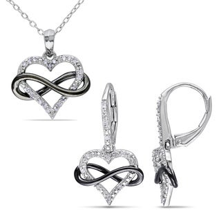 Haylee Jewels Sterling Silver 1/5ct TDW Diamond Heart Infinity Necklace and Earrings Set (G-H, I2-I3)
