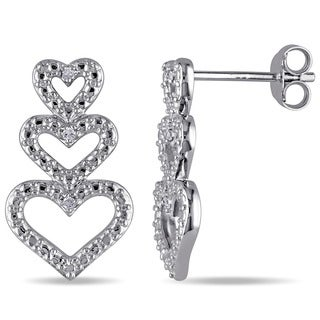 Haylee Jewels Sterling Silver Diamond Accent Triple Heart Earrings
