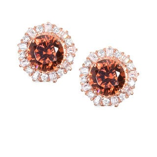 Rose-tone Sterling Silver Cubic Zirconia Earrings with Pink Cubic Zirconia Centers