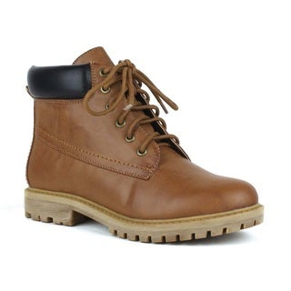 Mark and Maddux Women's 'Wesley-01' Camel Padded Collar Lace-up Boots