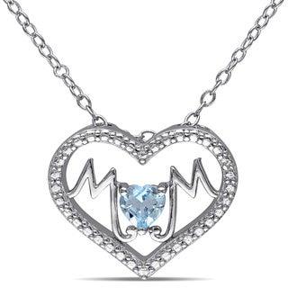 Miadora Sterling Silver Blue Topaz 'Mom' Heart Necklace