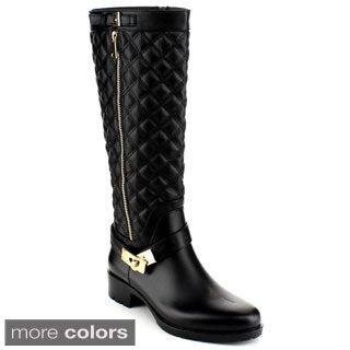 Reneeze Women's NINI-4 Knee-High Quilted Matte Vinyl Boots