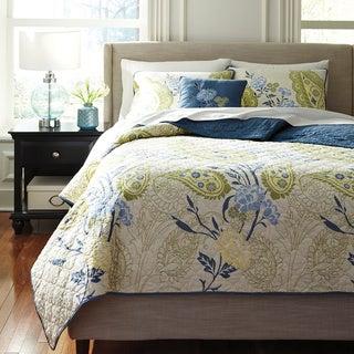 Signature Design by Ashley 3-piece Teal Pailsette Quilt Comforter Set