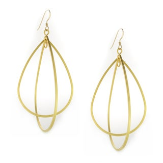 Handmade 16K Gold Plated Double Tear Drop on Gold-Filled Earwire Earrings (USA)