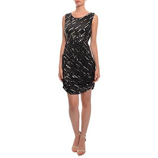 Alice + Olivia Sequins Sleeveless Asymmetrical Ruched Evening Dress