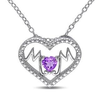Miadora Sterling Silver Amethyst Mom Heart Necklace