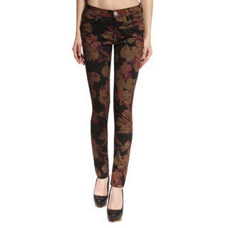 Anladia Women's Black Flora Print Skinny Pants