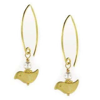 Handmade Vermeil Earwires w/16K Gold Plated Bird Dangle Earrings (USA)