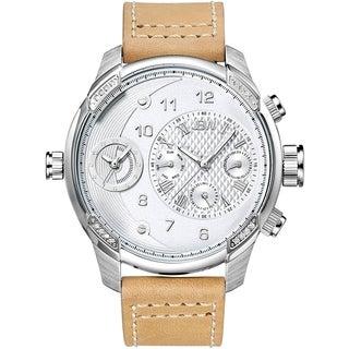 JBW Men's 'G3' Diamond Accent Brown Leather Watch
