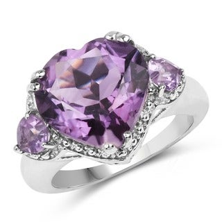 Malaika Sterling Silver 5 3/4ct TGW Amethyst Ring