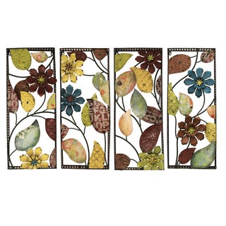 Distressed Metal Wild Flowers Framed Art Plaques (Set of 4)