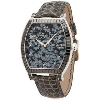 Céphée Men's 18k White Gold 'Tonneau' Snowflake Obsidian Black Diamond Dial Black Leather Watch