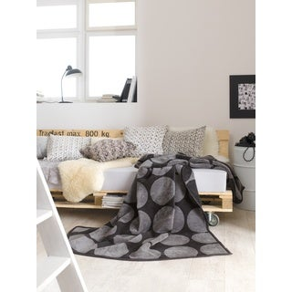 Messina Black and Grey Dot Oversized Throw Blanket