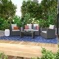 Portfolio Aldrich Grey 4-piece Indoor/Outdoor Resin Wicker Set