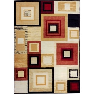 Well Woven Malibu Squares and Boxes Red Multi Polypropylene Rug (4'5 x 6'5)