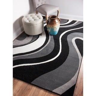 Well Woven Mano Shades of Grey Waves Grey Polypropylene Rug (3'3 x 4'7)