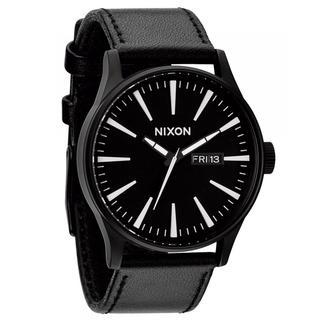 Nixon Men's A105005-00 Sentry Black Leather/ Black Dial Watch