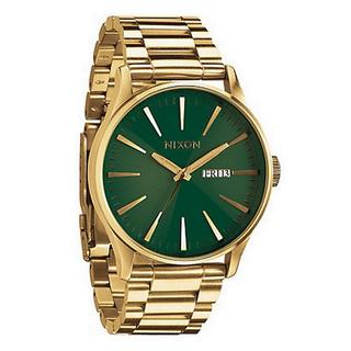 Nixon Men's A3561919-00 Sentry Goldtone Stainless Steel/ Green Dial Watch