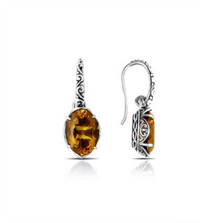 Handmade Bali Sterling Silver Oval Faceted Citrine Drop Earrings (Indonesia)