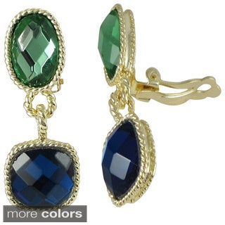 Goldtone Multi-colored Faceted Glass Oval and Square Dangling Clip-on Earrings