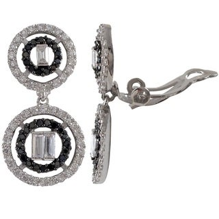 Sterling Silver Baguettes Cubic Zirconia Graduated Open Circles Clip-on Earrings