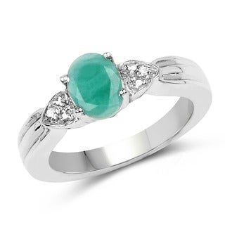 Sterling Silver 1 1/4ct TGW Emerald and White Topaz Ring
