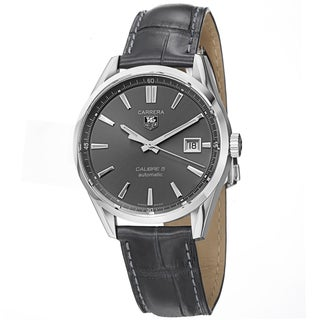 Tag Heuer Men's WAR211C.FC6336 'Carrera' Grey Dial Grey Leather Strap Watch