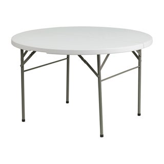 "Offex 48"" Round Bi-Fold Granite White Plastic Folding Table"