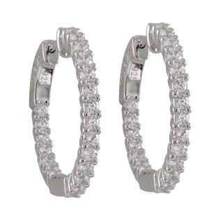 Sterling Silver Prong-set Cubic Zirconia 25mm Hoop Earrings