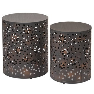 Office Star Products 2-piece Round Metal Accent Tables